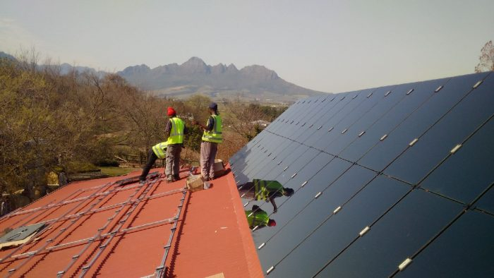 Solar panels on the roof of the Stellenbosch Waldorf School, South Africa Courtesy The Sun Exchange - Courtesy: the Sun Exchange
